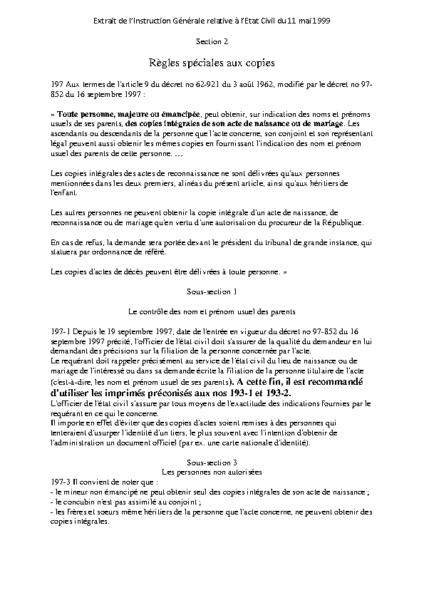 réglement demande copie d'état civil