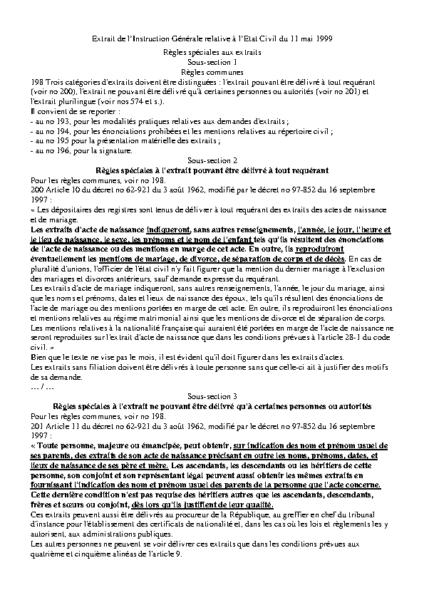 réglement demande d'extrait d'état civil
